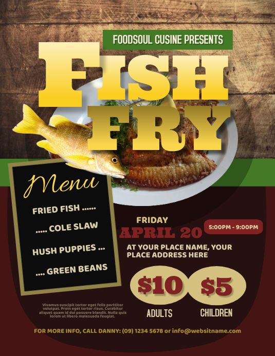 Fish Fry Flyer Løbeseddel (US Letter) template