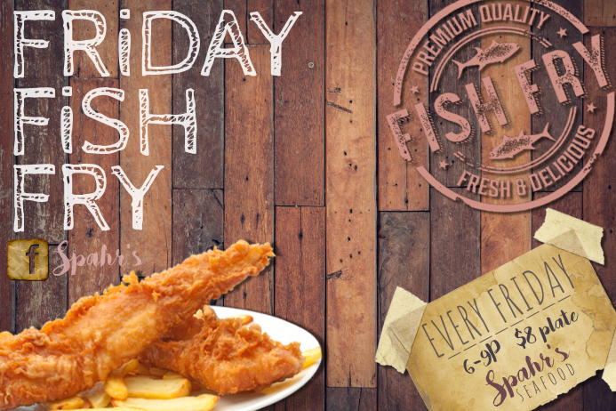 Fish Fry Food Restaurant Special Seafood Party Cook off Poster template