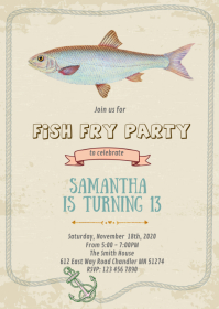 Fish fry party card