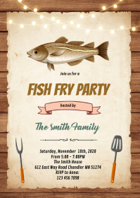 Fish fry party invitation A6 template