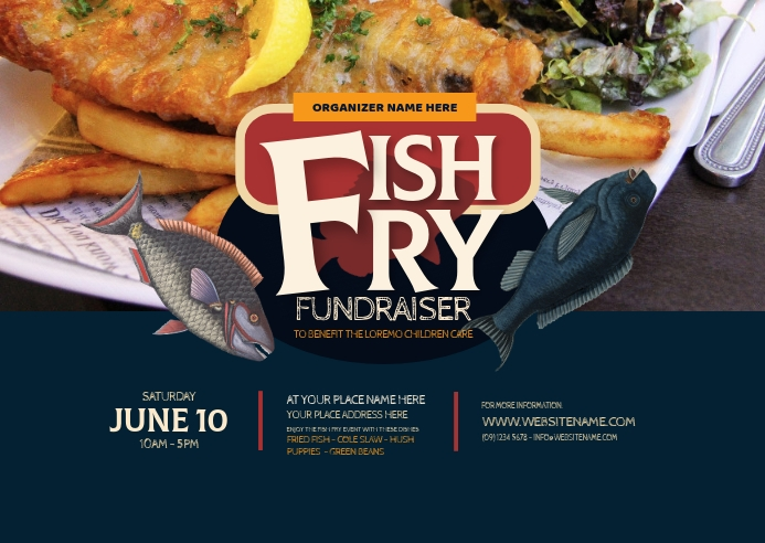 Fish Fry Postcard Poskaart template