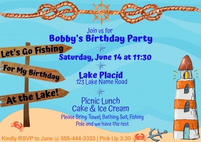 Fishing Birthday Invitation Poskaart template