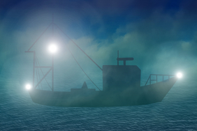 fishing boat in morning mist - marine ocean landscape
