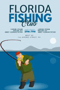 Fishing Club Flyer Design Template