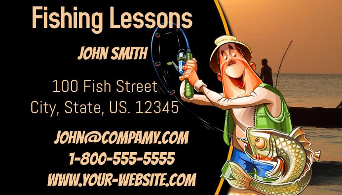 Fishing Lesson Business Card Kartu Bisnis template