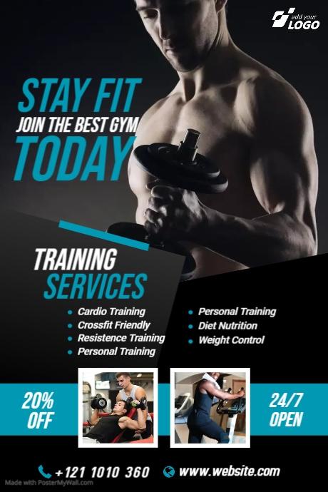 Fitness | Gym | Sports Center Advert Banner 4' × 6' template