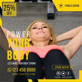 Fitness | Gym | Sports Center Video Advert Wpis na Instagrama template