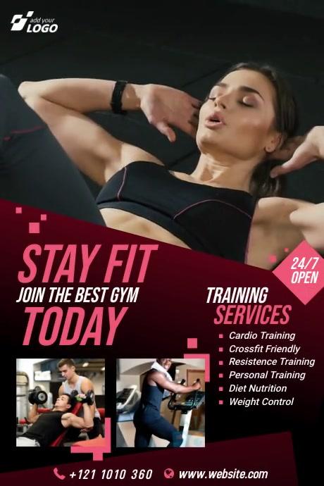 Fitness | Gym | Sports Center Video Advert Banner 4' × 6' template