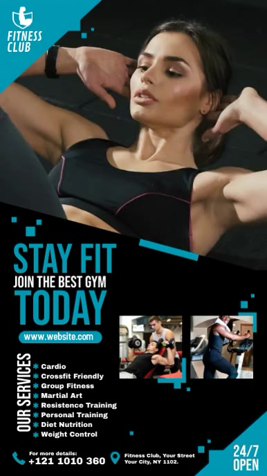 Fitness | Gym | Sports Center Video Advert Digitale display (9:16) template