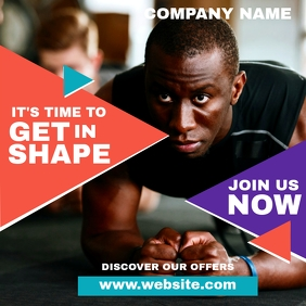 fitness and gym instagram post design templat template