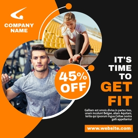 fitness and gym orange and grey instagram pos template