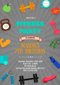 Fitness birthday party theme invitation A6 template