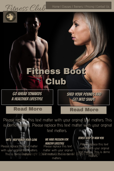 Fitness boot camp Poster template