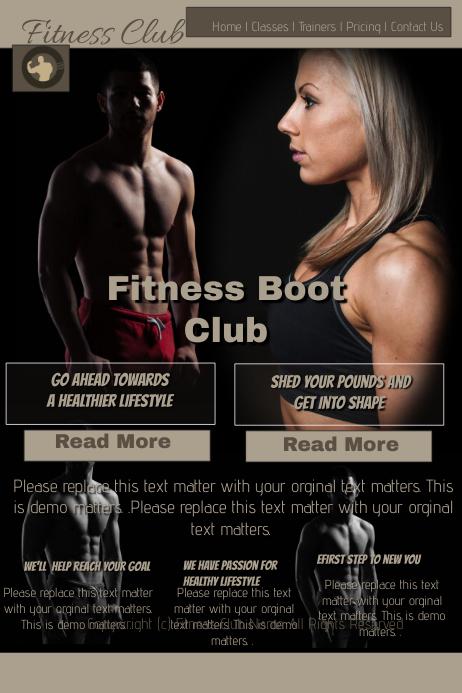 Fitness boot camp Плакат template