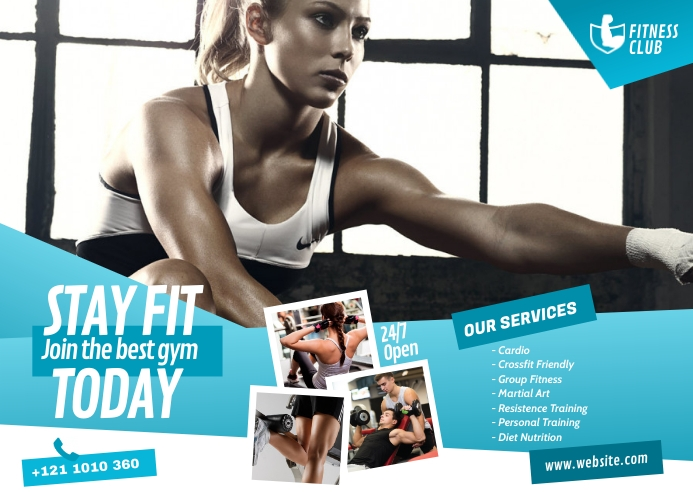 Fitness Center Ad Postcard template