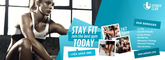 Fitness Center Ad Facebook Cover Photo template