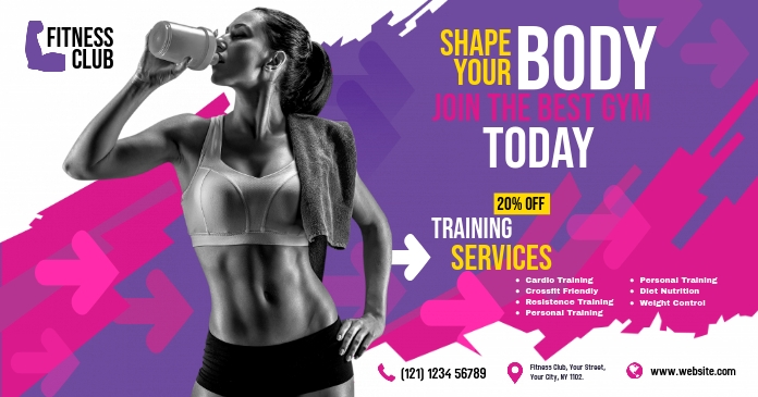 Fitness Center Advert Facebook Shared Image template