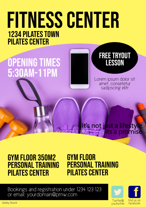 Fitness Center Flyer Poster Opening Time Gym A4 template