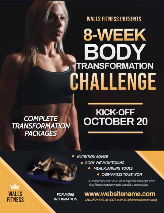 Fitness Challenge Flyer Pamflet (Letter AS) template