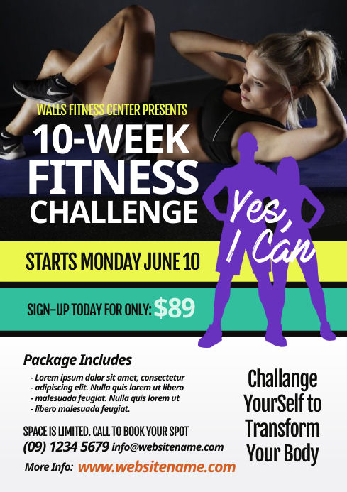 Fitness Challenge Flyer A4 template