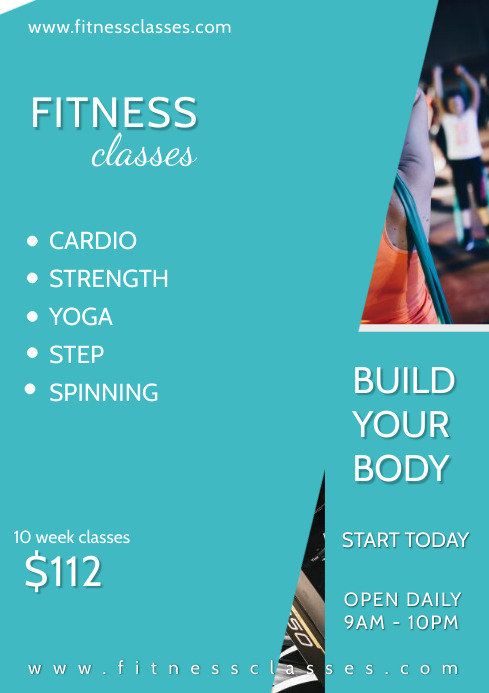 Fitness classes A4 Poster Template