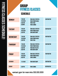 Fitness Classes Schedule Flyer (US Letter) template