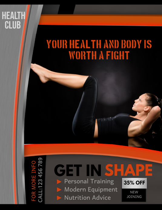 Fitness Club Flyer, Gym Flyer, Workout Flyer Template PosterMyWall