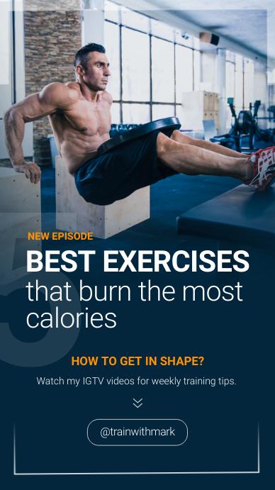 Fitness Excercises IGTV เรื่องราวบน Instagram template