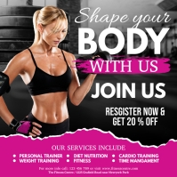 fitness flyer, body building, gym 方形(1:1) template