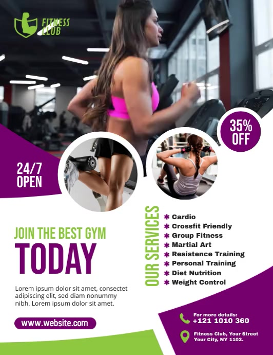 Fitness Flyer ใบปลิว (US Letter) template