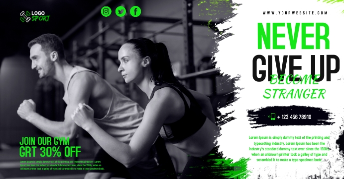 Fitness cover Sampul Acara Facebook template