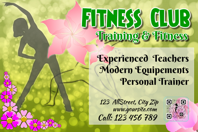 Fitness flyer and brochure with QR code