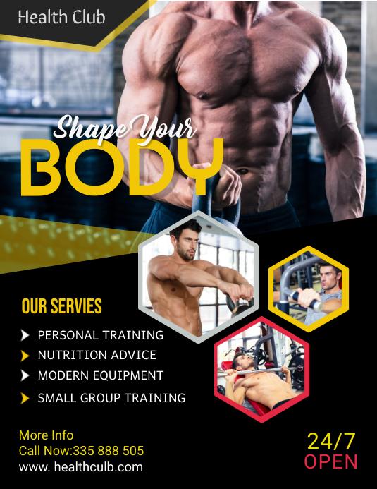 fitness flyer template Volante (Carta US)