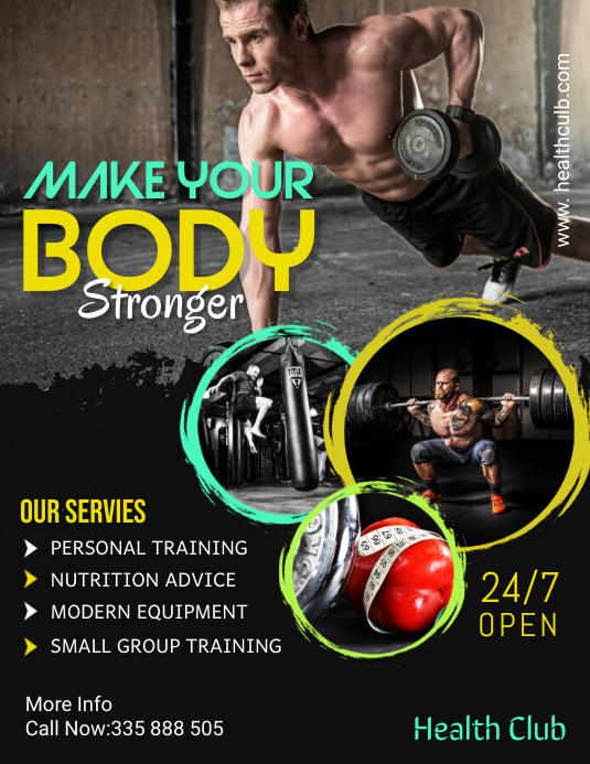 fitness flyer template Løbeseddel (US Letter)