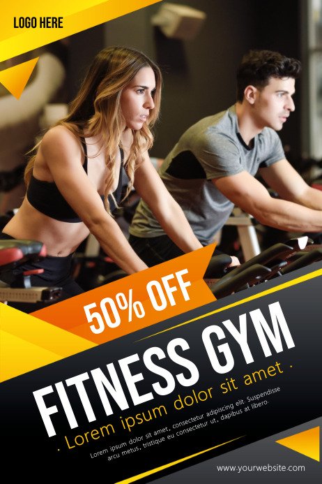Fitness flyers, Gym flyers Poster template