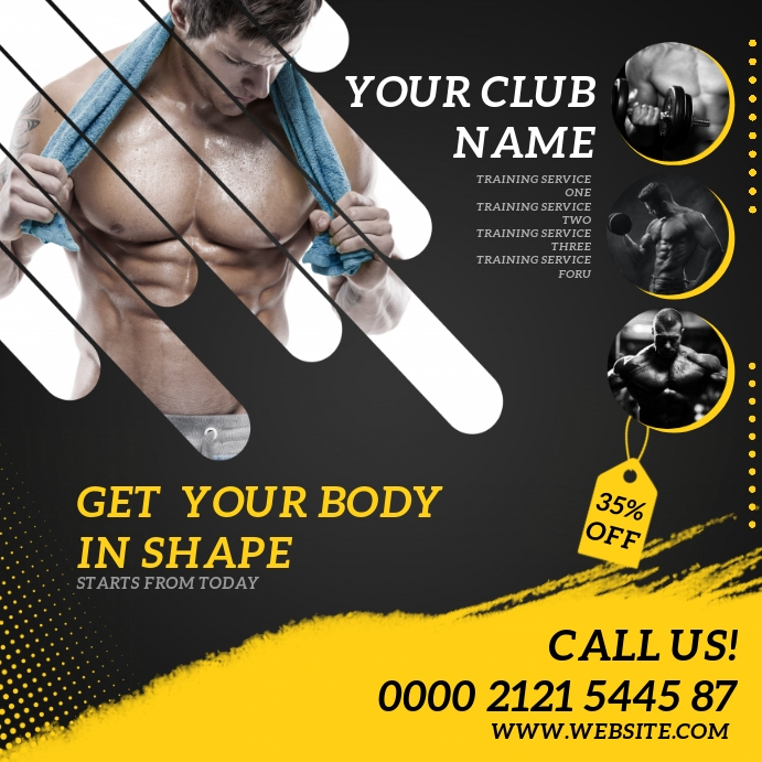 FITNESS GYM Square (1:1) template