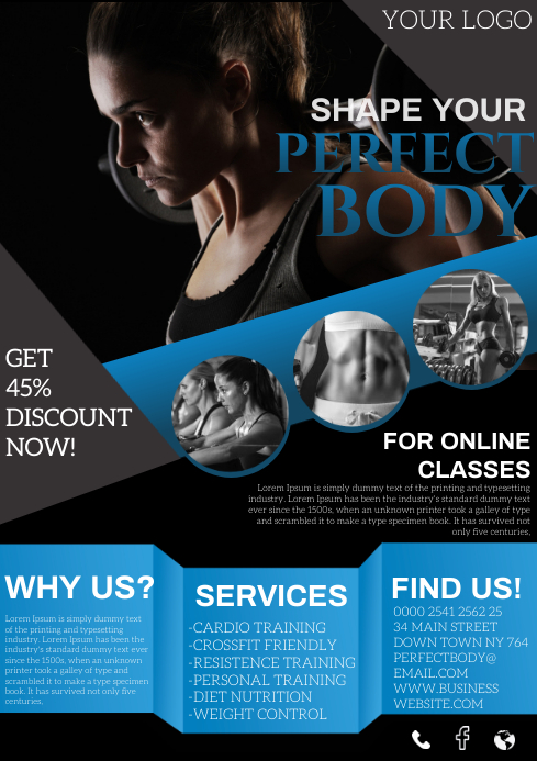Fitness Gym A4 template