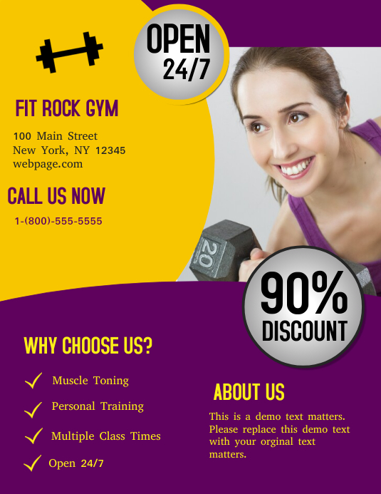 Fitness Gym Flyer (US Letter) template
