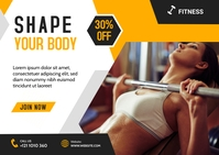 Fitness Gym Postcard Banner Poskaart template