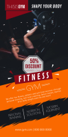 Fitness Gym Roll up Banner Cartel enrollable de 3 × 6 pulg. template