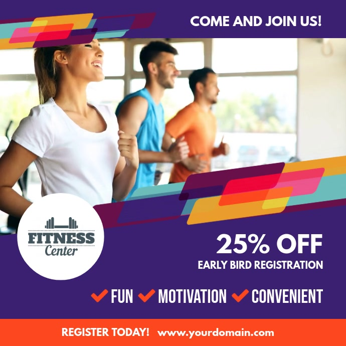 Fitness Gym Video Template Persegi (1:1)