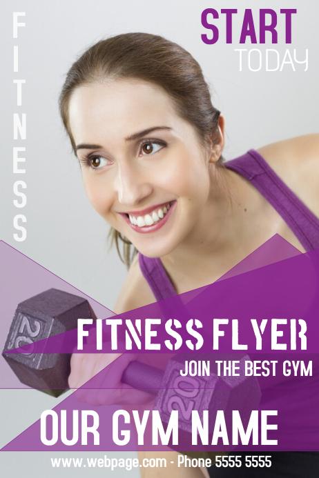 fitness gymn flyer template purple
