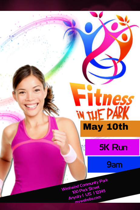 Fitness in the park Poster template