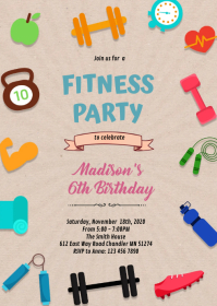 Fitness party theme invitation A6 template