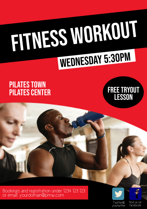 Fitness Sport Club Flyer Advert Workout Train