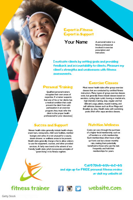 Fitness Trainer Leaflet