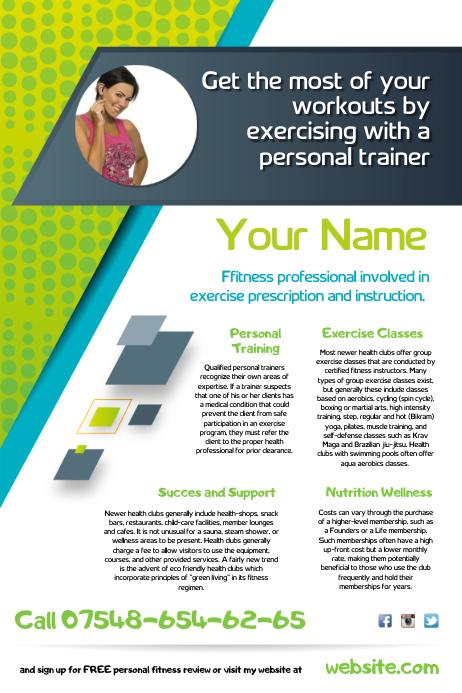 шаблон Fitness Trainer Flyer Postermywall