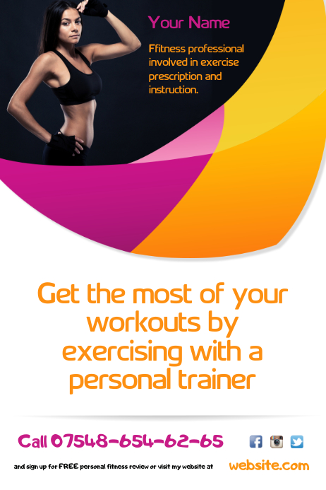 Fitness Trainer Flyer Template Postermywall