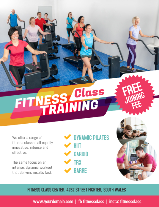 Fitness Training Class Flyer Poster Template Postermywall