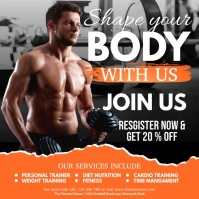 fitness video, body building, gym 方形(1:1) template